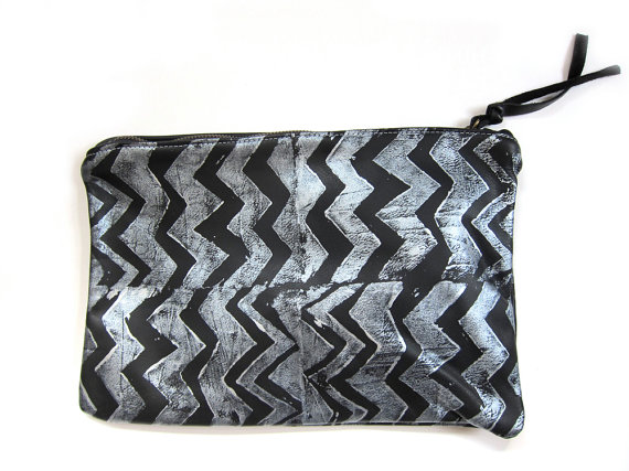 silver and black chevron clutch